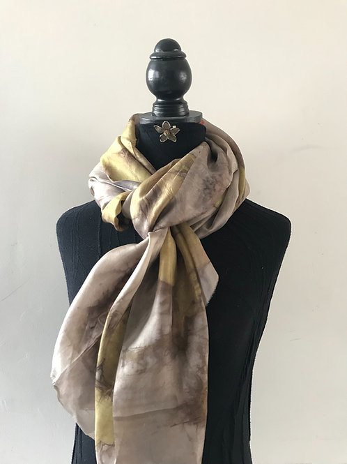 Large silk wrap eco printed with Chinese Honeysuckle and hand dyed with walnut