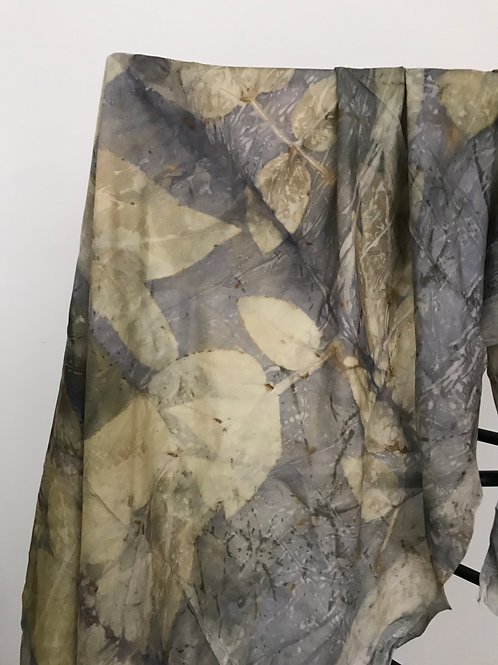 Logwood and golden rain eco print large silk