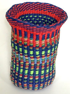 Navy-red-green linen basket straight up.