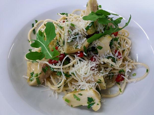 Spaghetti s grilovanými artyčoky