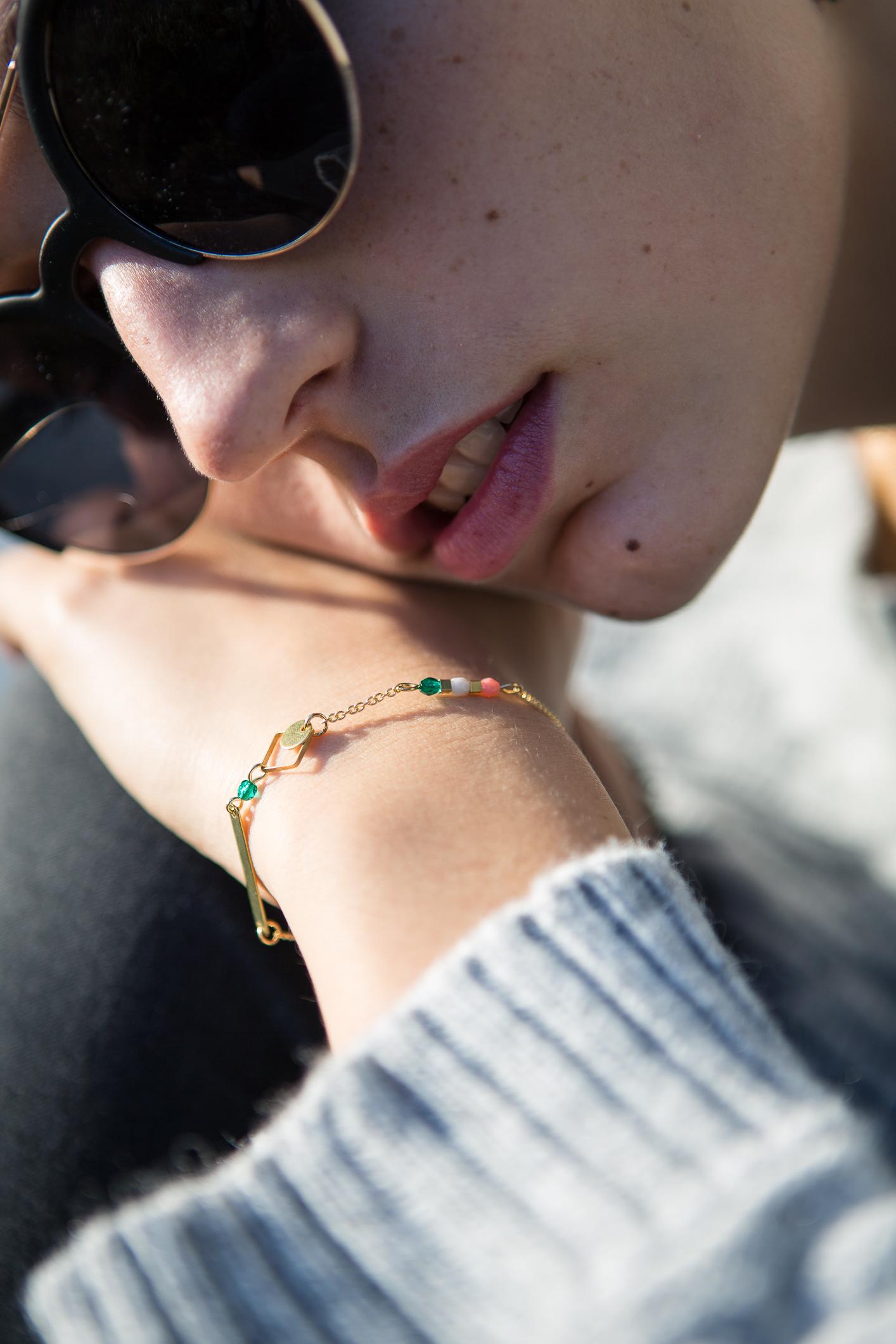Bracelet Silex émeraude et rose