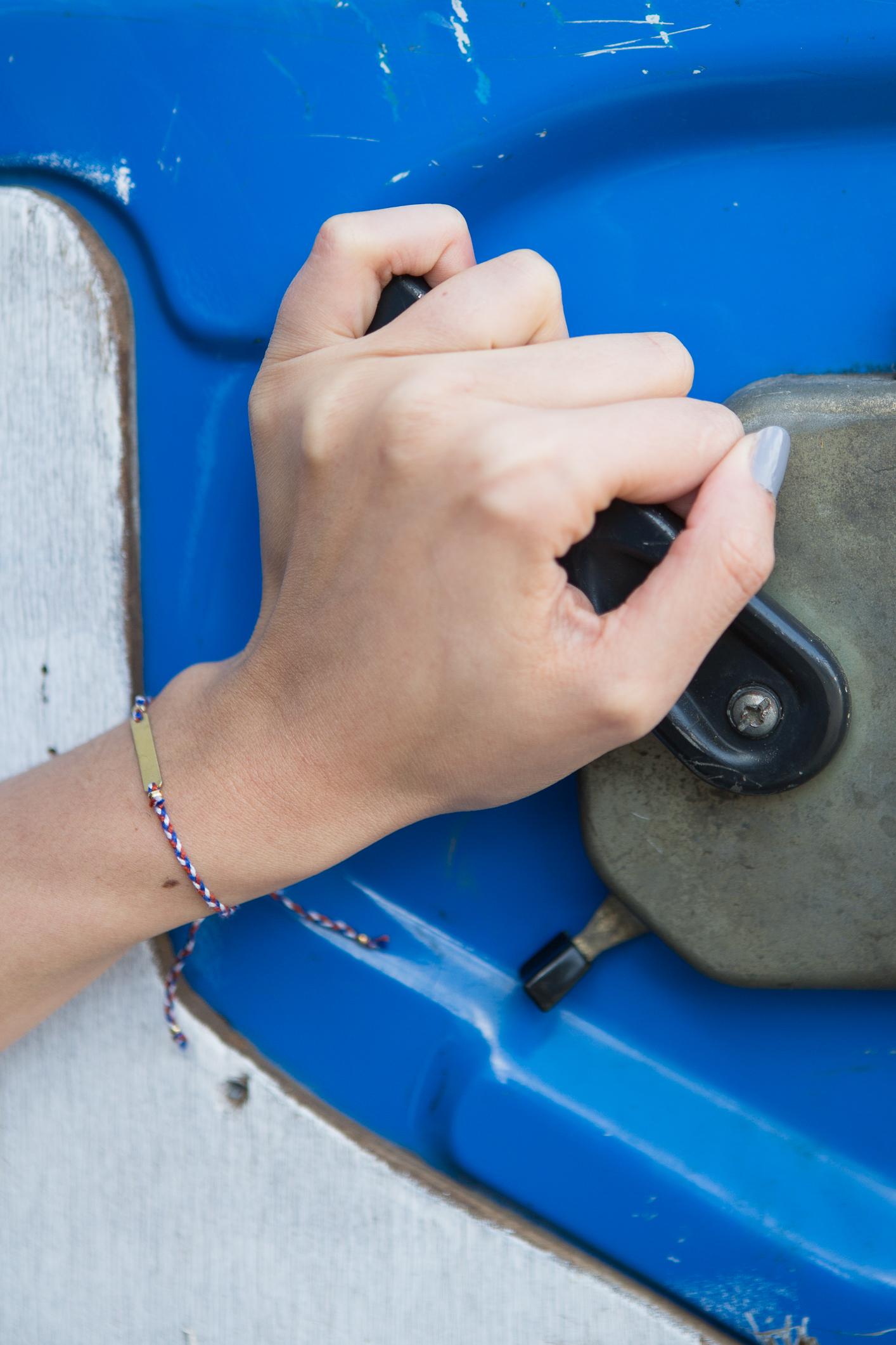 bracelet Craie: gourmette sur tresse