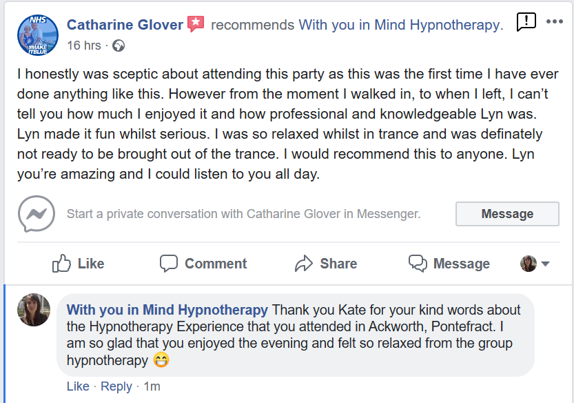 Number 1 Facebook review of Hypnotherapy Experience in Ackworth, Pontefract