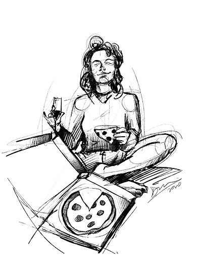 Dibujo Chica Pizza