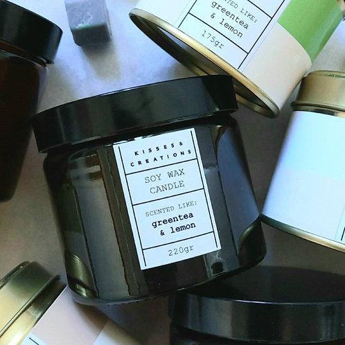 Green Tea & Lemon Candle in Amber Jar
