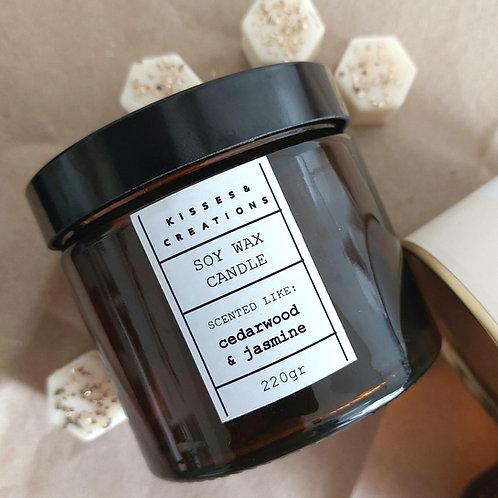 Cedar Wood & Jasmine Candle in Amber Jar