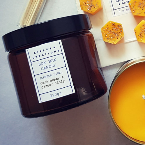 Dark Amber & Ginger Lilly Candle in Amber Glass