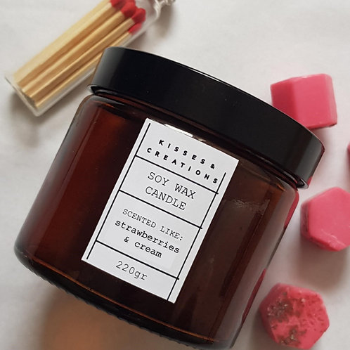 Strawberries & Cream Candle in Amber Glass