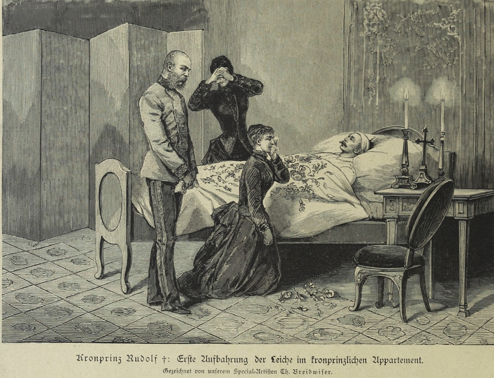 Grieving emperor and empress at the deathbed of Rudolf - an old drawing
