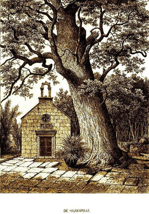 The family chapel of St Jerome with an old oak