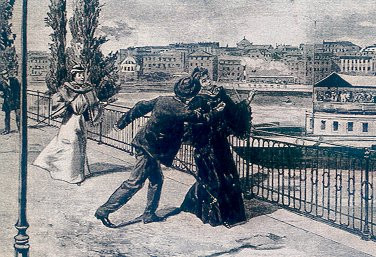 The stabbing of Elisabeth by the Italian anarchist Luigi Lucheni in Geneva, 10 September 1898, unknown artist, 19.c