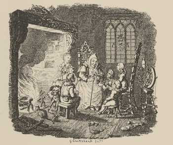 Illustration of children seated round an old woman telling stories, by George Cruikshank, 1823, London