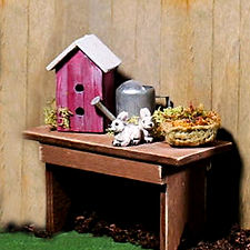Bench with Birdhouse and Watering Can