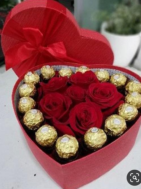 Corazón de Rosas y chocolates