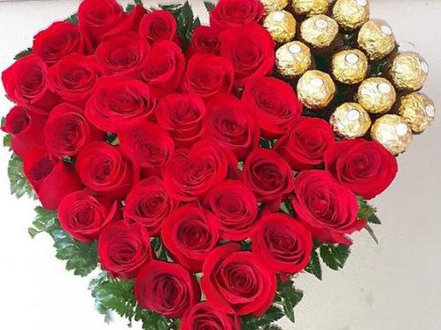 Corazón de Rosas y Chocolates Big
