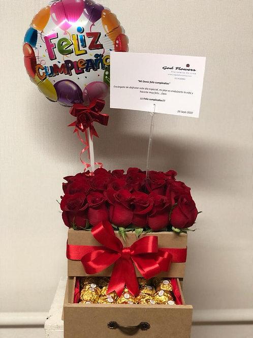 Caja de rosas en madera con chocolate