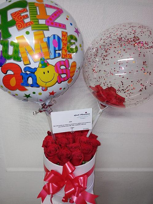 Caja redonda de rosas Lux