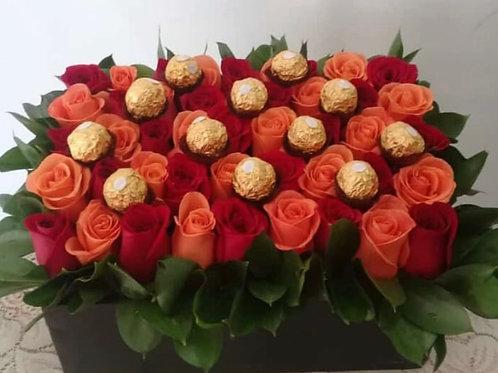 Caja Rosas big con chocolates