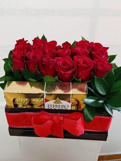 Caja de rosas más Ferrero