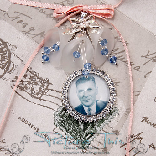 Diamante Photo Charm, Bouquet charm with lilies.