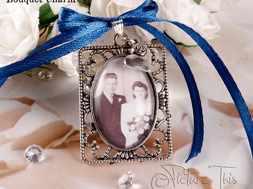 Wedding bouquet photo charm, Memorial Charm, Pocket Photo Charm.