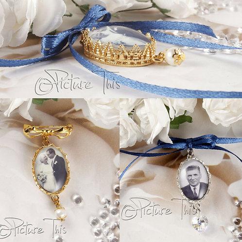 Bridal Bouquet Photo Charm, Custom Photo charm, Silver Photo Charm, Gold Bouquet