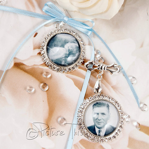 Diamante Photo Charm, Bouquet brooch