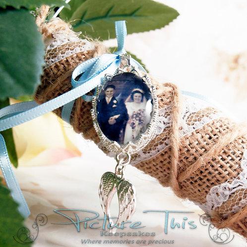 Angel Wings Bouquet Pendant, Memorial Charm, Bridal Bouquet Charm