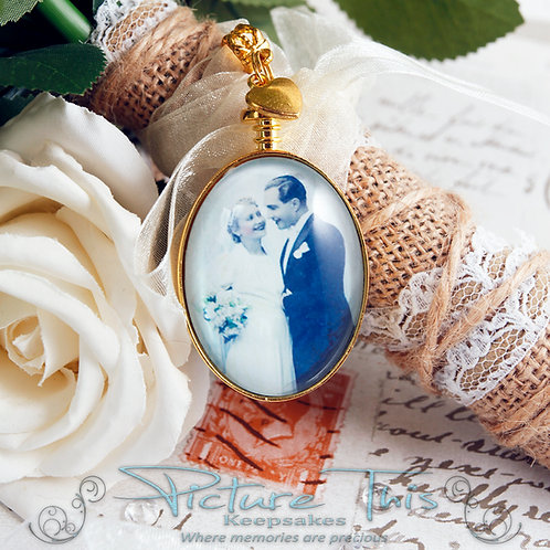 Wedding Bouquet Photo charm, Memorial Photo charm