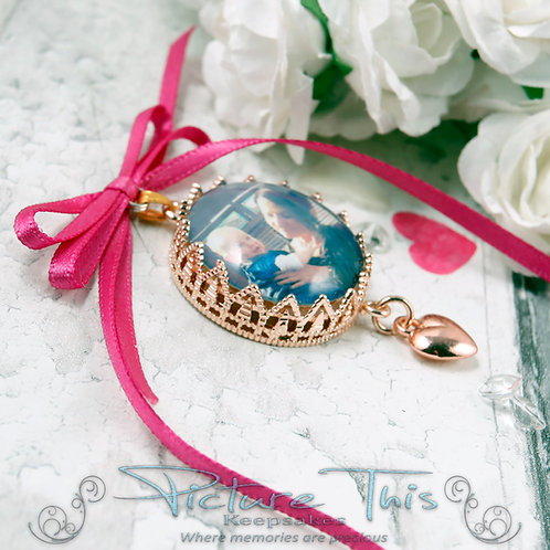 Rose Gold crown setting bouquet charm