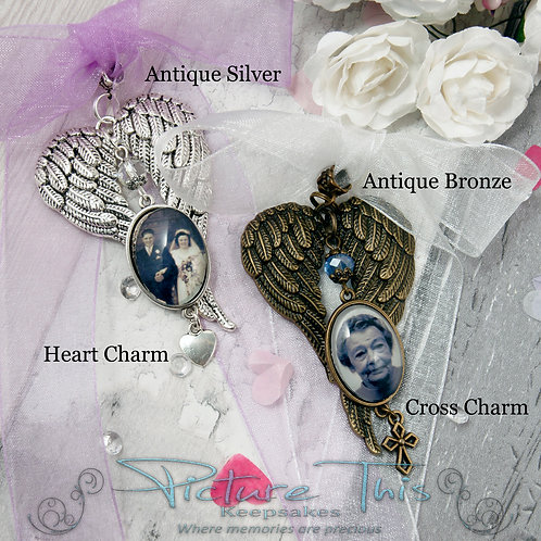 Gothic Angel Wings Bouquet Charm