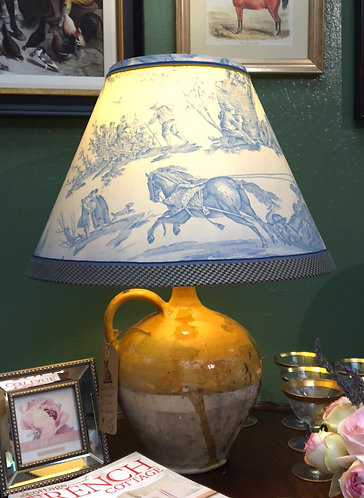 Antique French Urn Lamp with Pierre Deux Lamp Shade
