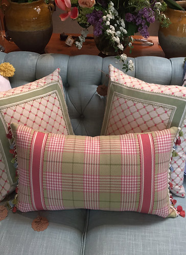 Tally Home Exclusive Lumbar Pink and Green Plaid Pillow