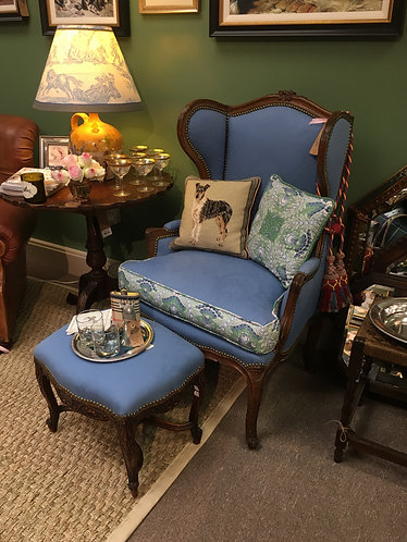 Antique French Chair with Ottoman Upholstered in Pierre Deux