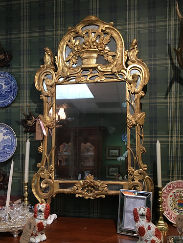 18th Century Regence Wedding Mirror Carved Giltwood