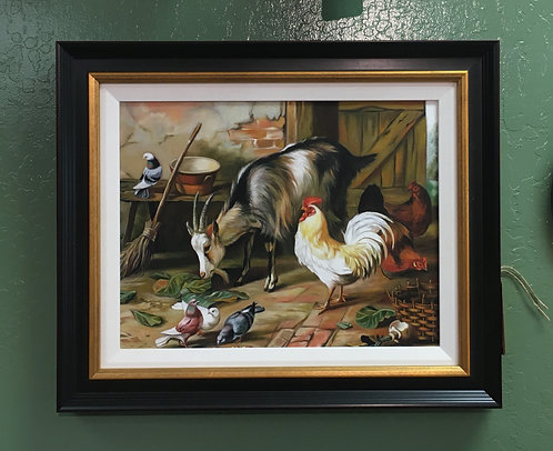 Oil Painting Goat with Chicken