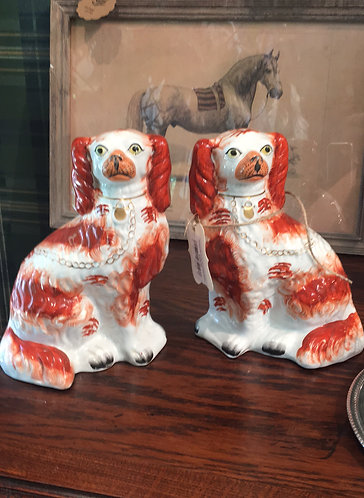 Antique Red and White Staffordshire Spaniels