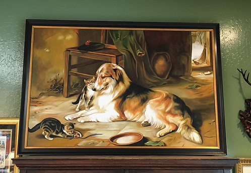 Oil Painting Dog with Kittens