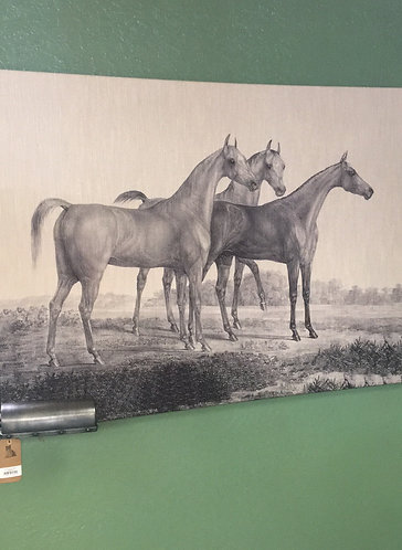 Trio of Horses Printed on Linen