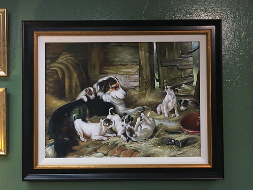 Oil Painting Dog with Puppies