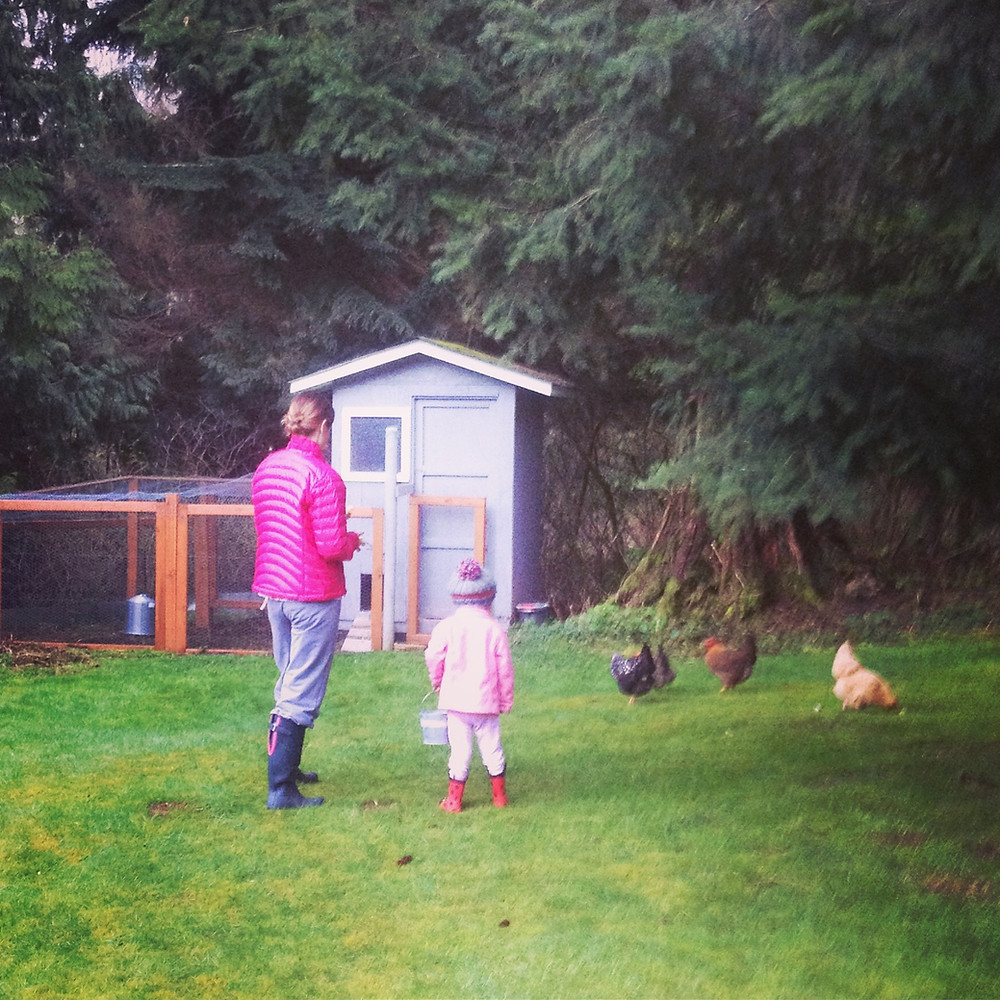 Family and chickens, Homestead