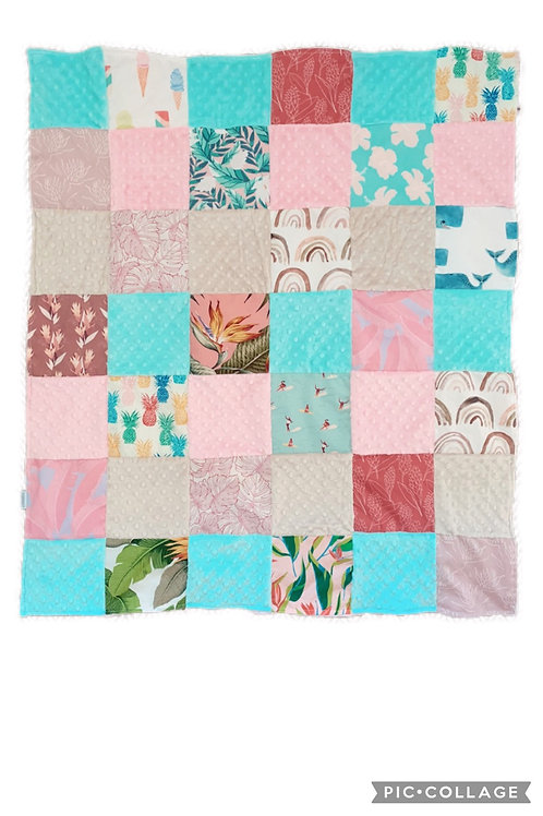 Quilted Minky Blanket Baby Girl (large squares)