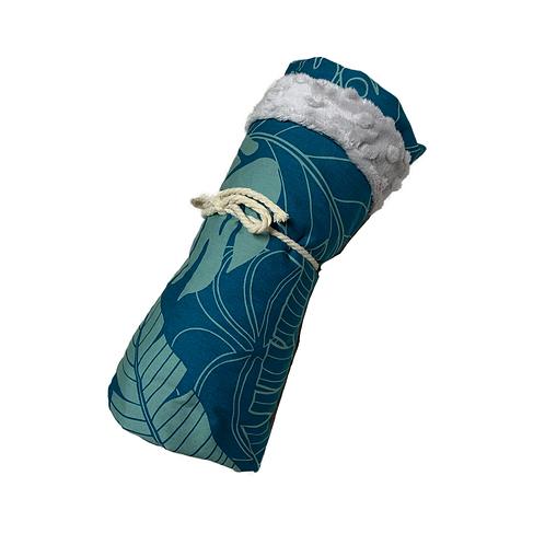 Teal Leaves Minky Blanket