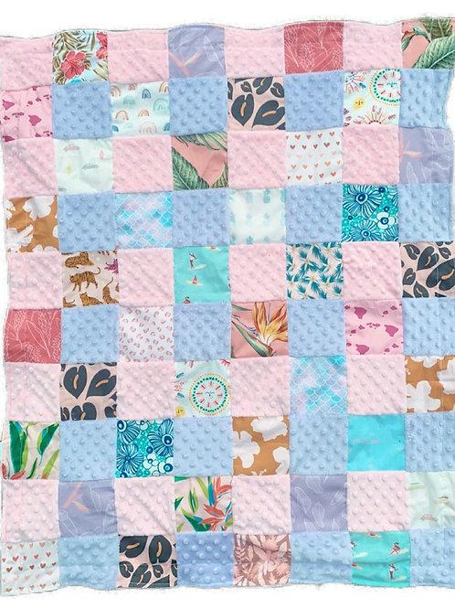 BG Quilted Minky Blanket - pink/purple