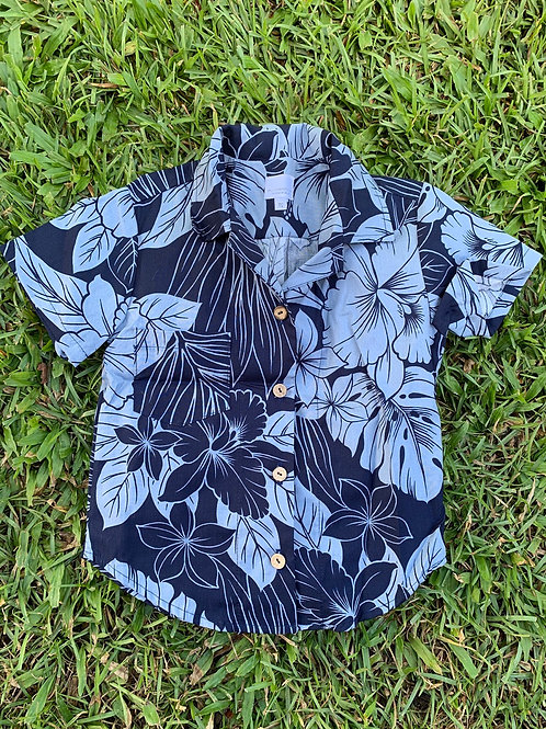 Navy Floral Aloha Shirt