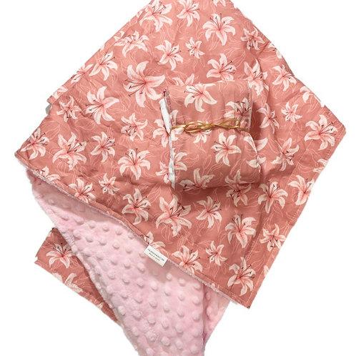Bronze Tiger Lilies Minky Blanket + Burpcloth