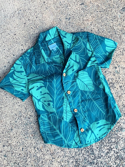 Teal leaves Aloha Shirt