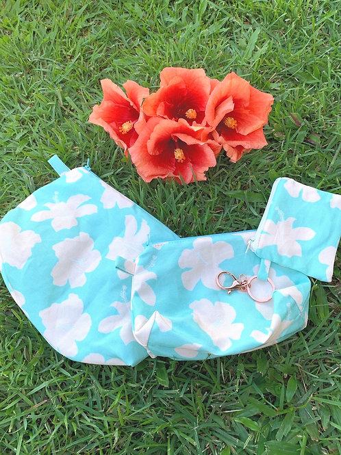 Blue Hibiscus Zipper Pouches