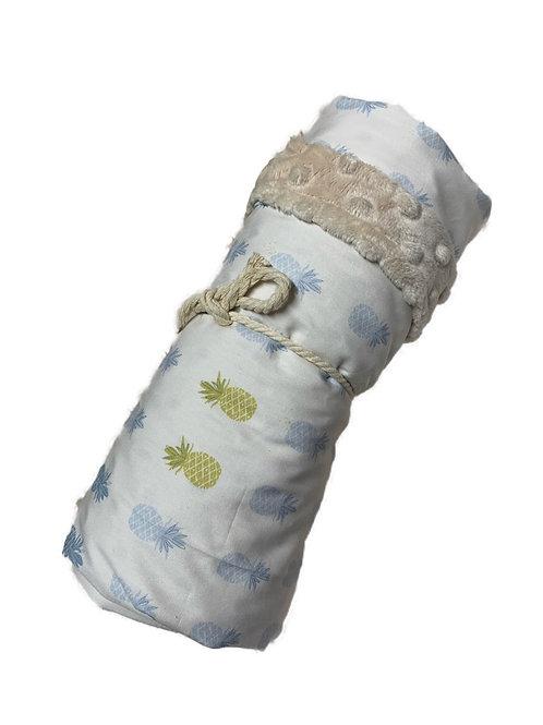 White + Blue Pineapple Minky Blanket