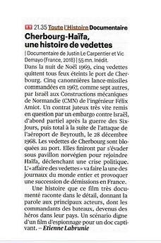 Cherbourg Haifa télérama